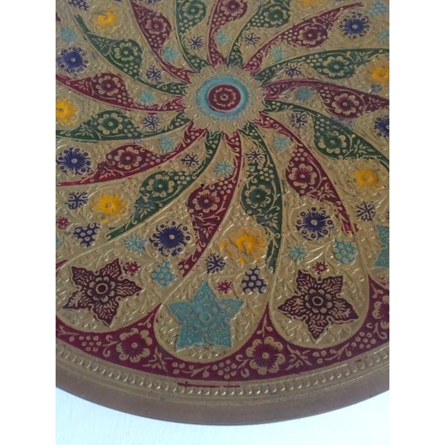 Vintage Moroccan Multicolored Enameled Brass Relief Plate For Sale In New York - Image 6 of 9