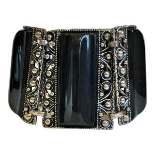 1950s Silver Tone & Black Thermoset Lucite Bracelet For Sale