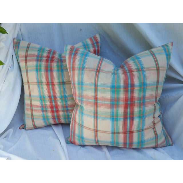1970's Madras Plaid Pillows - Image 2 of 6