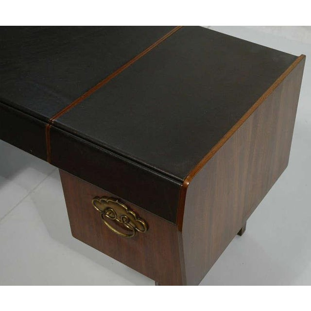 Mid-Century Modern Desk by Bert England for Widdicomb in Leather, Walnut and Bronze For Sale - Image 9 of 10