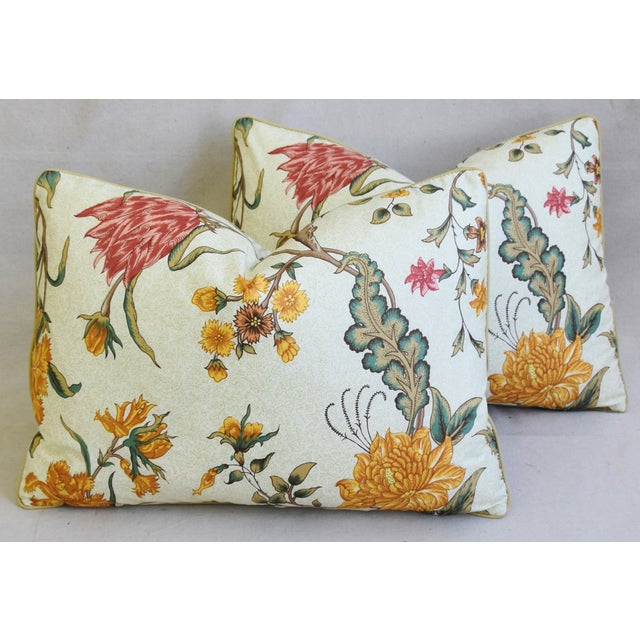 """Schumacher Arbre Fleuri Floral & Ticking Feather/Down Pillows 22"""" X 16"""" - Pair For Sale - Image 12 of 13"""