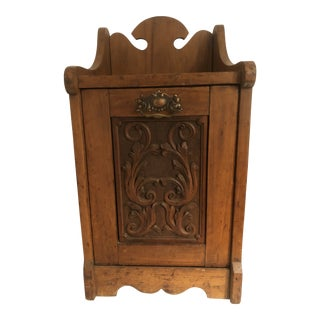 Victorian Coal Hod With Carved Front For Sale
