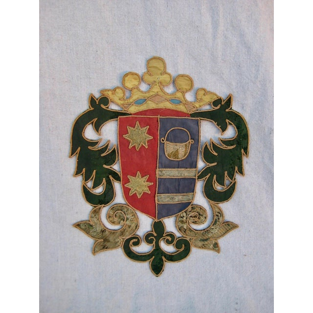 Green 19th Century Italian Marquee Coat of Arms Armorial Embroidery For Sale - Image 8 of 8