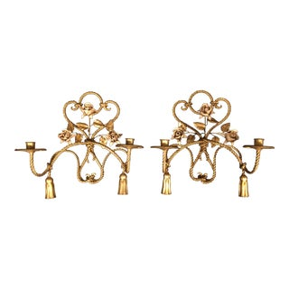 Vintage Gold Leaf Tole Rope and Tassel Candle Sconces With Enameled Flowers - a Pair For Sale