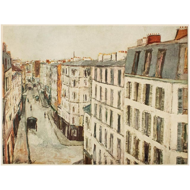 """A beautiful vintage lithograph after painting """"Rue de la Jonquiere"""", one of Parisian streets, by French artist Maurice..."""