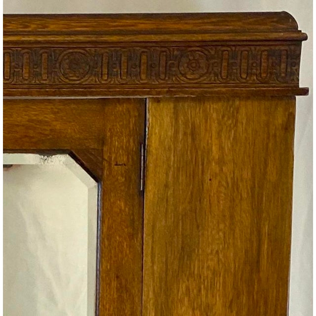 Brown Antique English Hand Carved Walnut Hall Wardrobe For Sale - Image 8 of 10