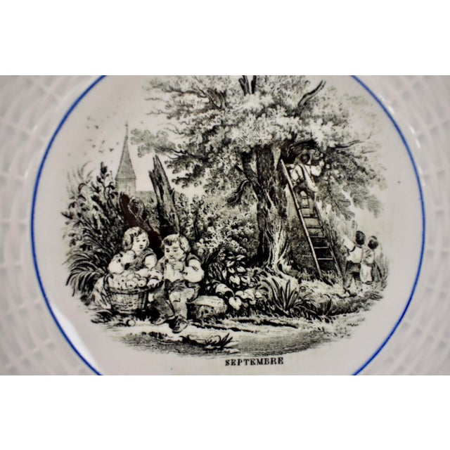 Digoin Sarreguemines French Transferware 'Mois De L'année' Plates, S/12 For Sale In Philadelphia - Image 6 of 11