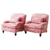 Image of Pair of French Provincial Toile Oversized Lounge Chairs For Sale