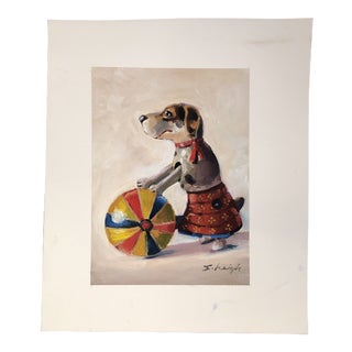 """Original """"Circus Dog"""" Illustration Painting by Contemporary Artist Stephen Heigh For Sale"""