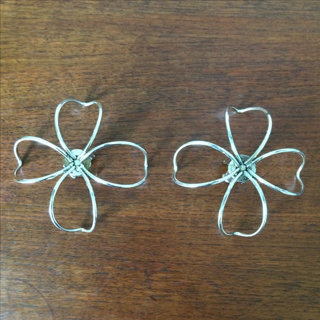 Vintage Metal Flower Candleholders - Pair - Image 5 of 8