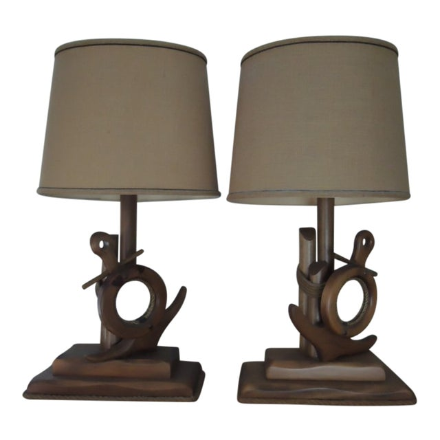 Nautical Hand Crafted Pine Wood Lamps - A Pair For Sale