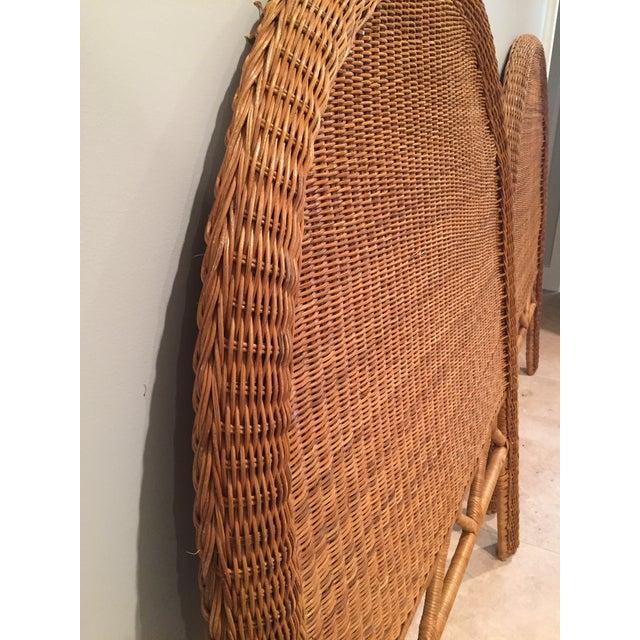 Wicker 1960s Boho Chic Twin Wicker Rattan Headboards - a Pair For Sale - Image 7 of 8