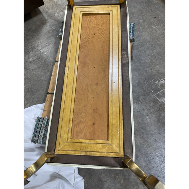 Italian Brass Upholstered Bench For Sale - Image 10 of 13