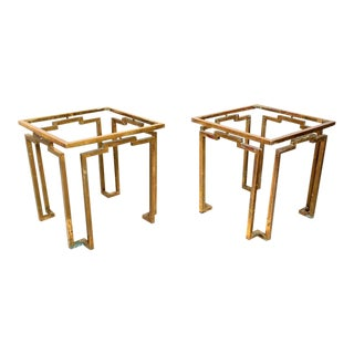 Brass and Glass Sculptural Geometric Side Tables by Arturo Pani Mexico - a Pair For Sale