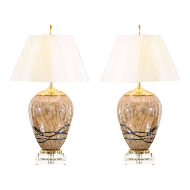 Extraordinary Pair of Eastern European Blown Glass Vessels as Custom Lamps For Sale