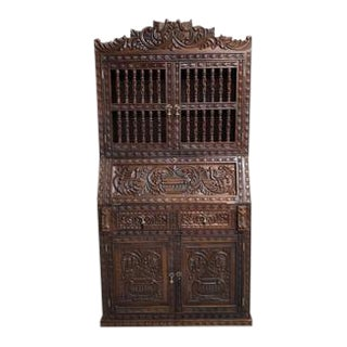 Rare Handmade Ornately Carved Peruvian Exotic Wood Spanish Colonial Style Cabinet For Sale