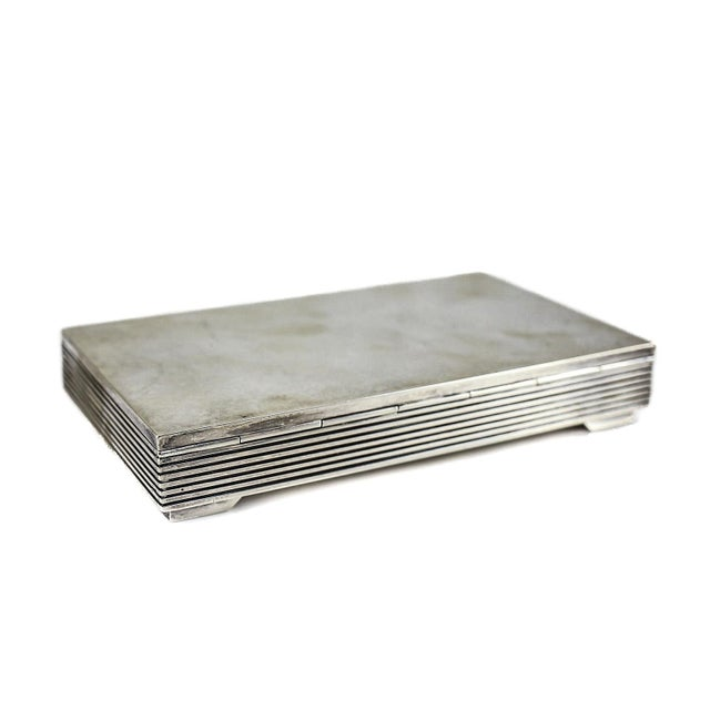 Art Deco 1950 Vintage Georg Jensen Sterling Silver Modernist Keepsake Box No. 712 by Sigvard Bernadotte For Sale - Image 3 of 4