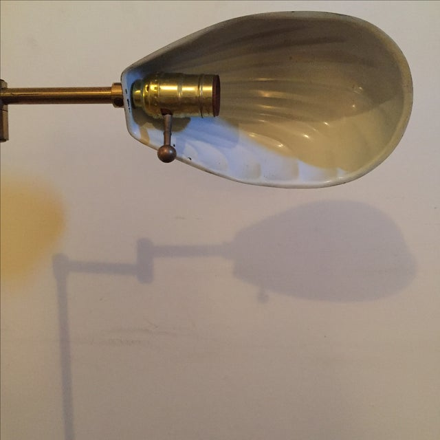 Vintage Brass Shell Shade Adjustable Floor Lamp - Image 4 of 4
