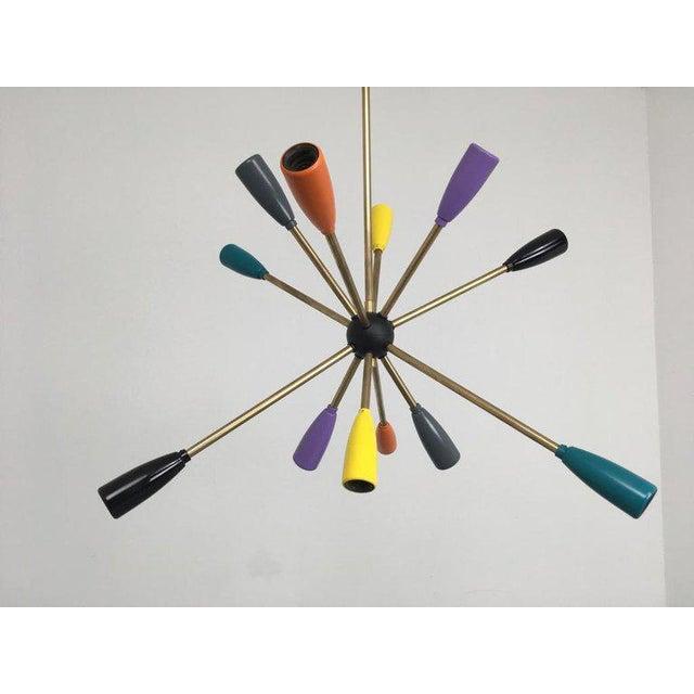 1950s Sputnik Pendant Chandelier Lamp in Different Colors For Sale - Image 9 of 12