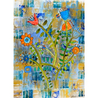 Flower Bouquet on Paper Painting For Sale