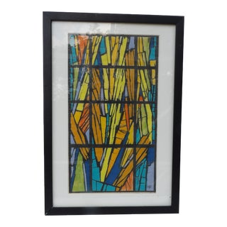 Original Stained Glass Drawing by Renown Artist Mariette Bevington For Sale