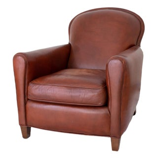 Lee Industries Chestnut Leather Chair For Sale