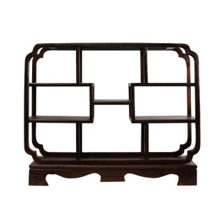 Chinese Yellowish Brown Wood Rectangular Small Curio Display Stand For Sale