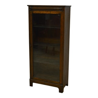 Antique Solid Oak One Door Bookcase For Sale