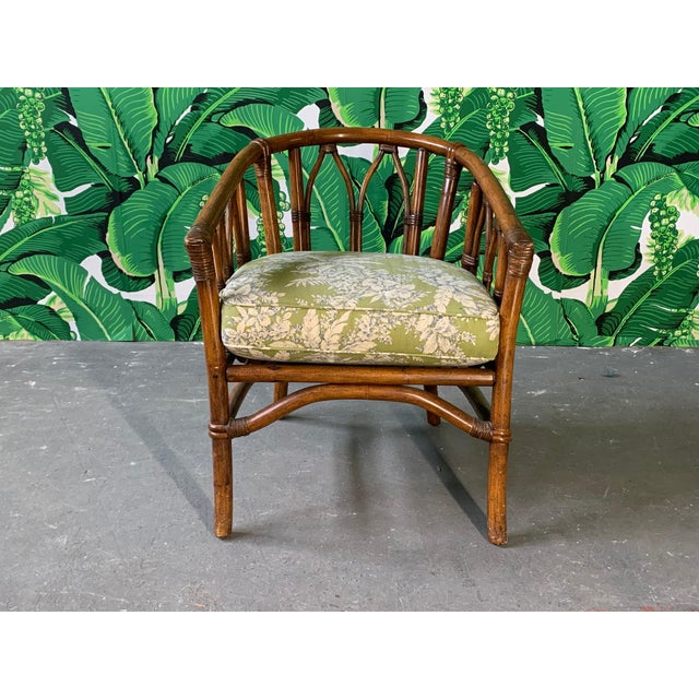 Mid-Century Modern Pair of Bamboo Club Chairs in the Style of McGuire For Sale - Image 3 of 12