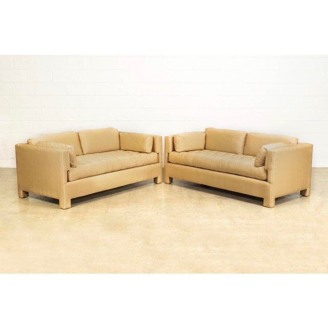 1960s Mid Century Probber or Wormley Style Tan Upholstered Sofa Couches - a Pair For Sale - Image 5 of 10