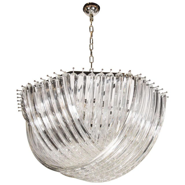 Metal Large Modernist Murano Glass Ribbon Chandelier For Sale - Image 7 of 7