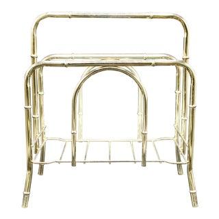 Vintage Brass Bamboo Magazine Rack or Book Shelf For Sale