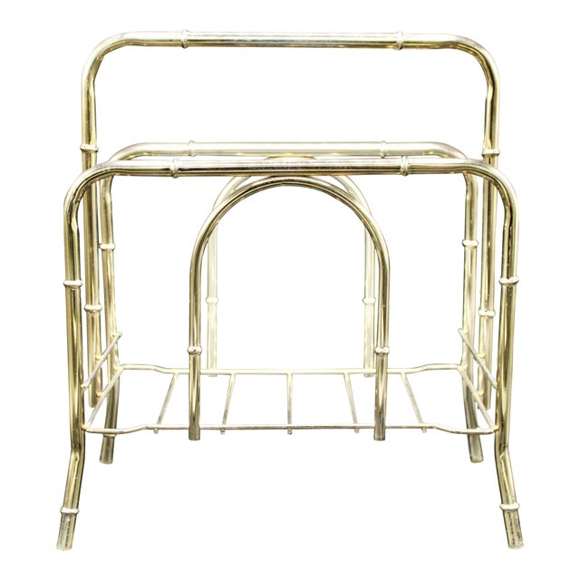 Vintage Brass Bamboo Style Magazine Rack / Book Shelf For Sale