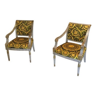 Pair of J Scott Antique Chair With Costom Upolstry in Velvet Gianni Versace Barroco For Sale