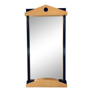 Post Modern Art Deco Revival Birdseye Maple Mirror For Sale