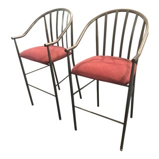 Crate and Barrel Metal Bar Stools - a Pair For Sale