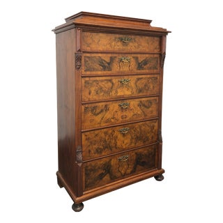 Antique 19th Century Burl Walnut German Beidermeier Tall Chest of Drawers For Sale