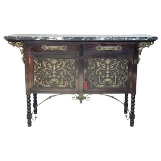 19th Spanish Buffet, Cupboard in Walnut and Top Marble With Bronze Decorations For Sale