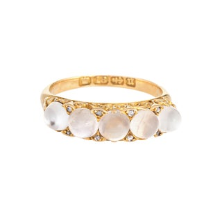 Late 19th Century Antique Victorian Moonstone Diamond Band 18k Gold Vintage Ring 6.25 For Sale