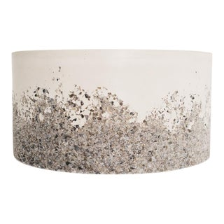 Hand Made Grey Agate and White Plaster Drum, Side Table by Samuel Amoia