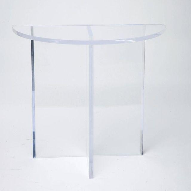 2010s Custom Designed Charles Hollis Jones Style Demilune Clear Lucite Console - Showroom Sample For Sale - Image 5 of 12