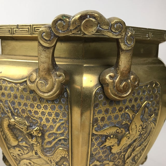 Gold Japanese Brass Planter For Sale - Image 8 of 10