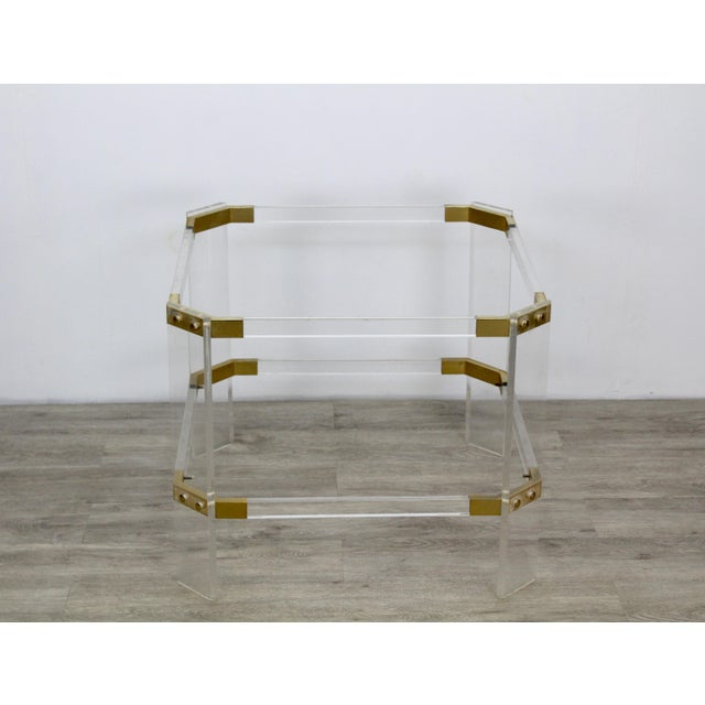 "Vintage brass and clear Lucite side table with glass top this table is in great vintage condition Dimensions; 24""Width x..."