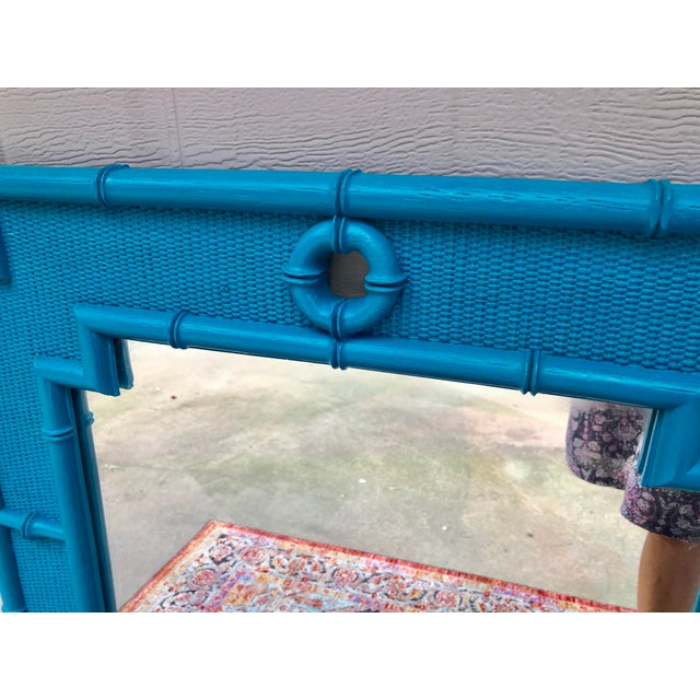 1980s Vintage Faux Bamboo Mirror For Sale - Image 5 of 11
