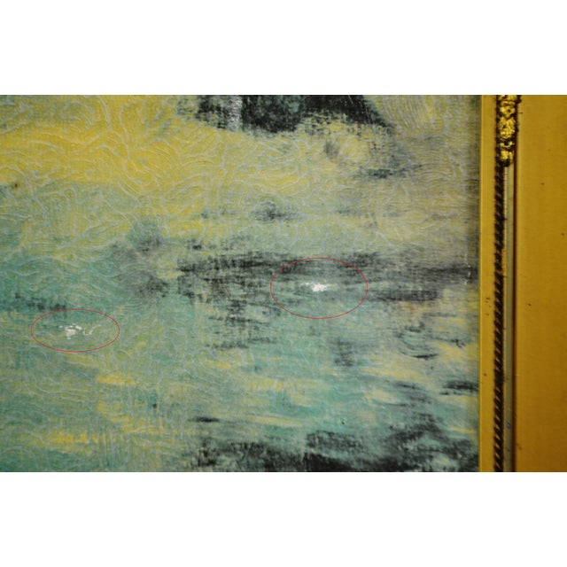 """Vintage Gold Gilt Framed Renoir """"Boating on the Seine"""" Print on Board For Sale - Image 9 of 13"""