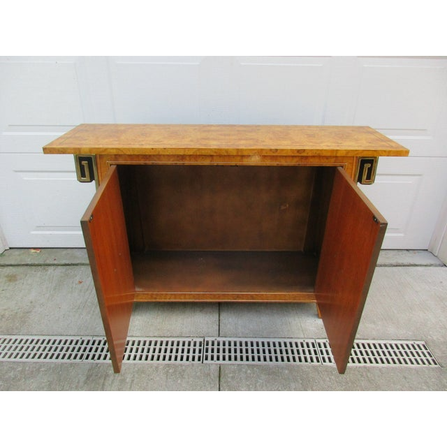 Mastercraft Burlwood and Brass Console Cabinet -Attributed to Mastercraft For Sale - Image 4 of 12