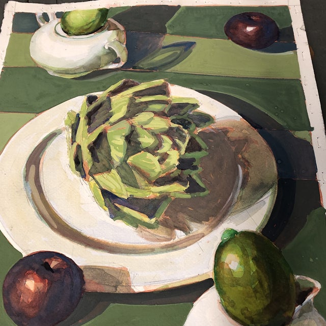 Contemporary Vintage Original Gouache Still Life Painting With Artichoke & Fruit For Sale - Image 3 of 5