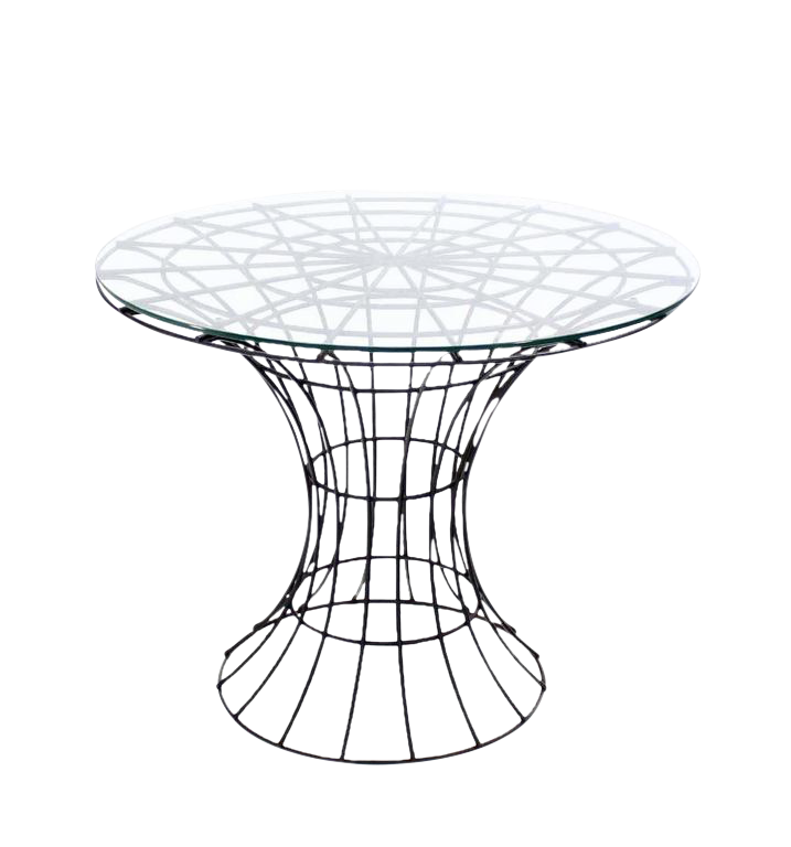 John Risley Four Pieces Welded Wire Outdoor Dining Dinette Set Round Table  For Sale