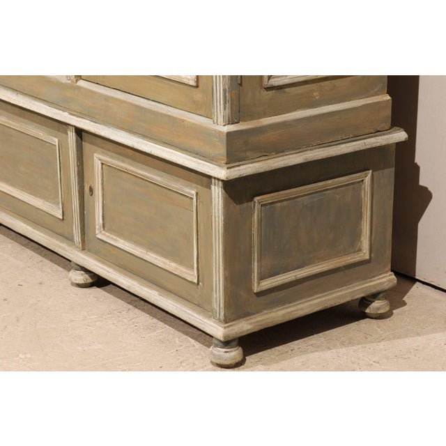 Wood French 19th Century Wood Cabinet With Three Glass Doors Raised on Round Feet For Sale - Image 7 of 10