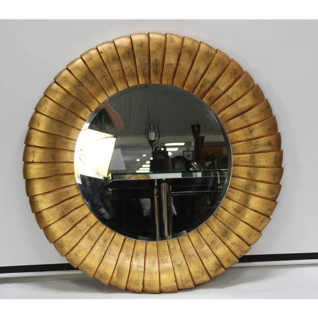 Mid-Century Style Large Contemporary Round Gold Mirror For Sale In San Diego - Image 6 of 6